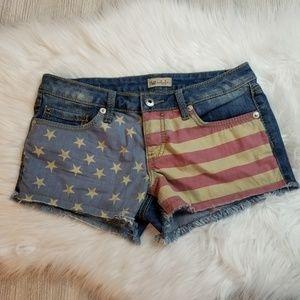 YMI American Flag Shorty Blue Jean Shorts
